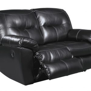 Black Reclining Loveseat-Kilzer Durablend by Ashley