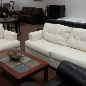 White Leather Sofa and Chair-Roeband By Ashley