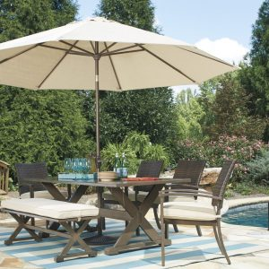 Moresdale Dining Set with Bench and Umbrella