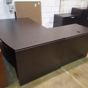 L-Shape Desk with Storage Cabinets