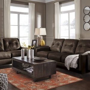 O'Kean Leather Sofa and Loveseat-Mahogany