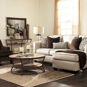 Sofa Chaise and Brownstone Accent Chair-Carlinworth by Ashley